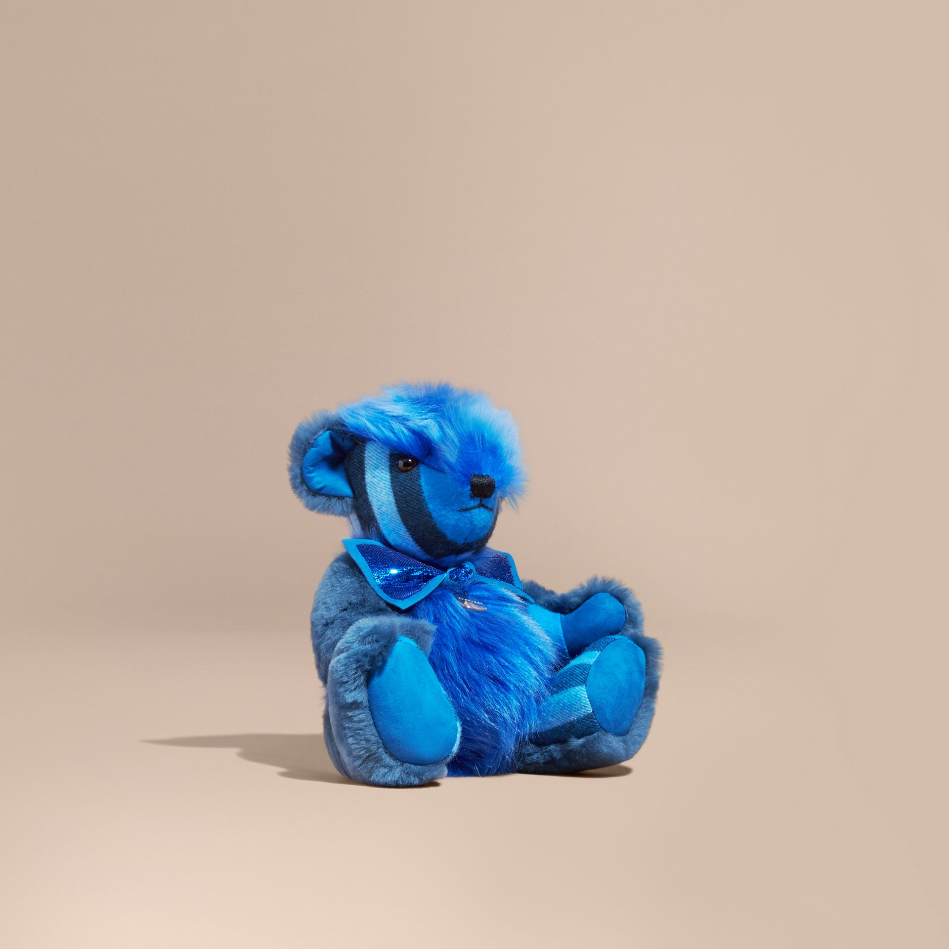 Bright cornflower blue Pom-Pom Thomas Bear in Shearling and Check Cashmere Bright Cornflower Blue - gallery image 1