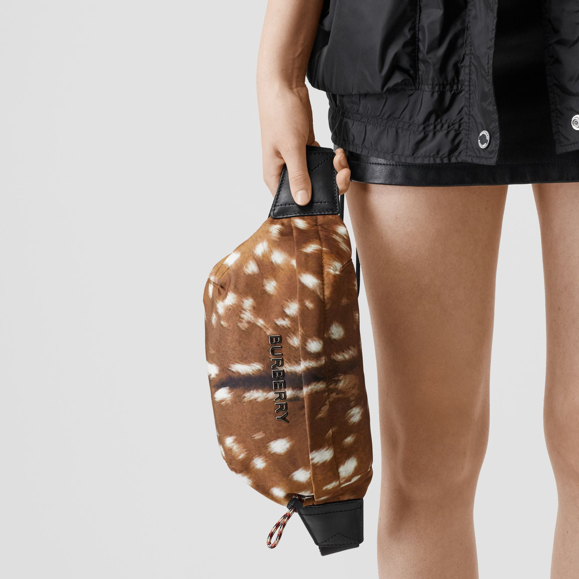 Medium Deer Print Bum Bag in Tan/white | Burberry Singapore - gallery image 2