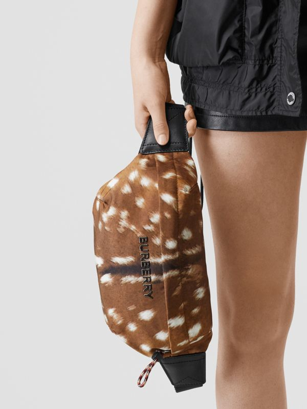 Medium Deer Print Bum Bag in Tan/white | Burberry Singapore - cell image 2