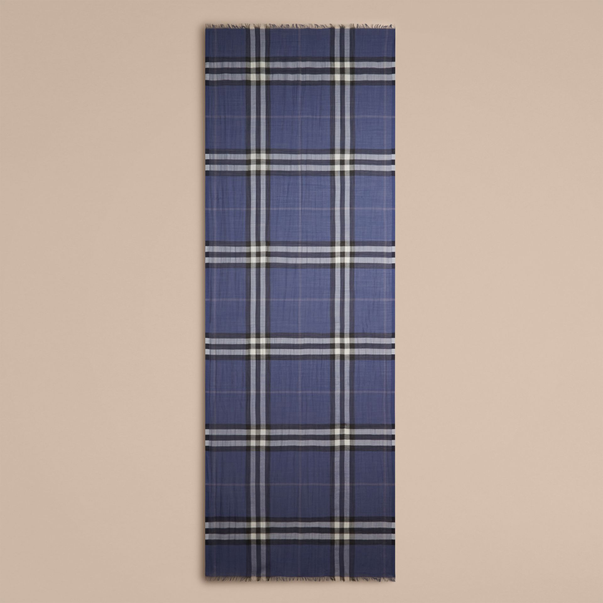 Thistle blue Lightweight Check Wool and Silk Scarf Thistle Blue - gallery image 4