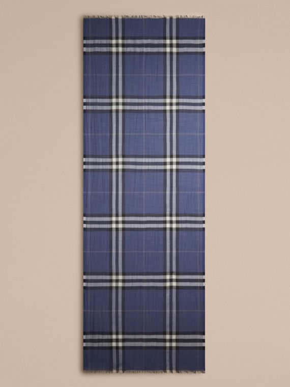 Thistle blue Lightweight Check Wool and Silk Scarf Thistle Blue - cell image 3