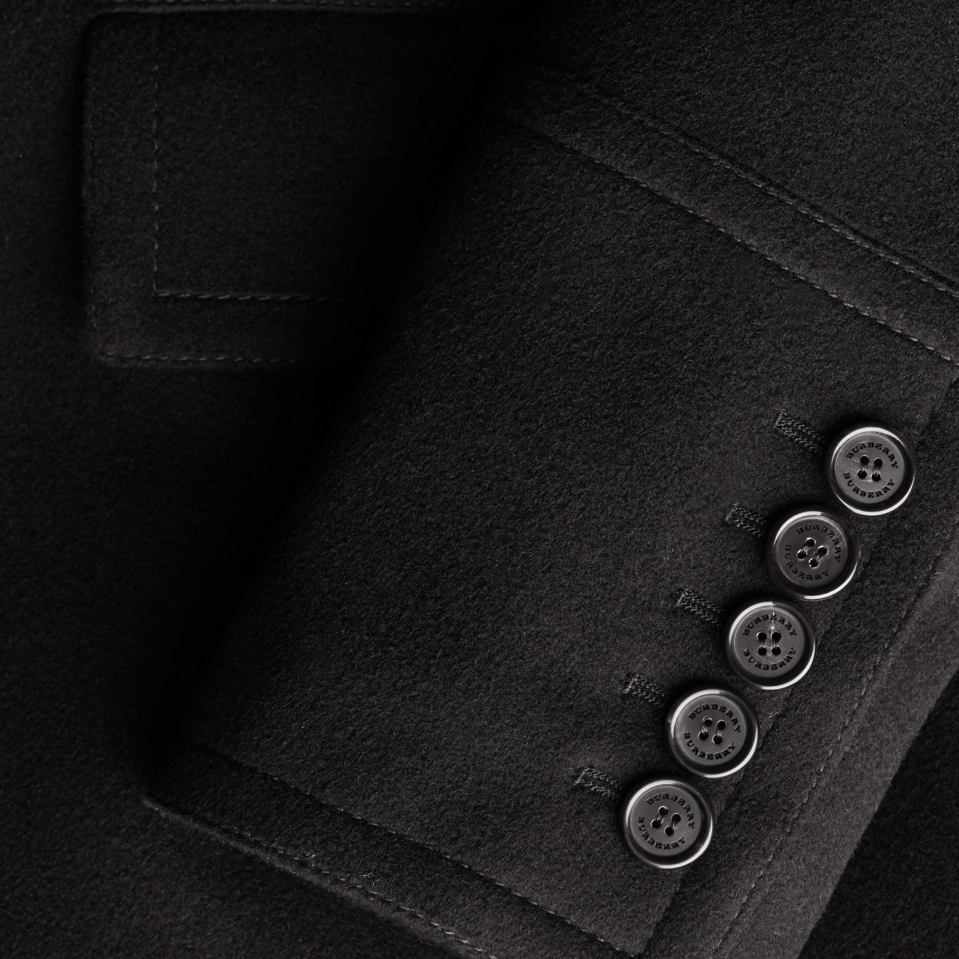 Black Wool Cashmere Pea Coat - gallery image 2