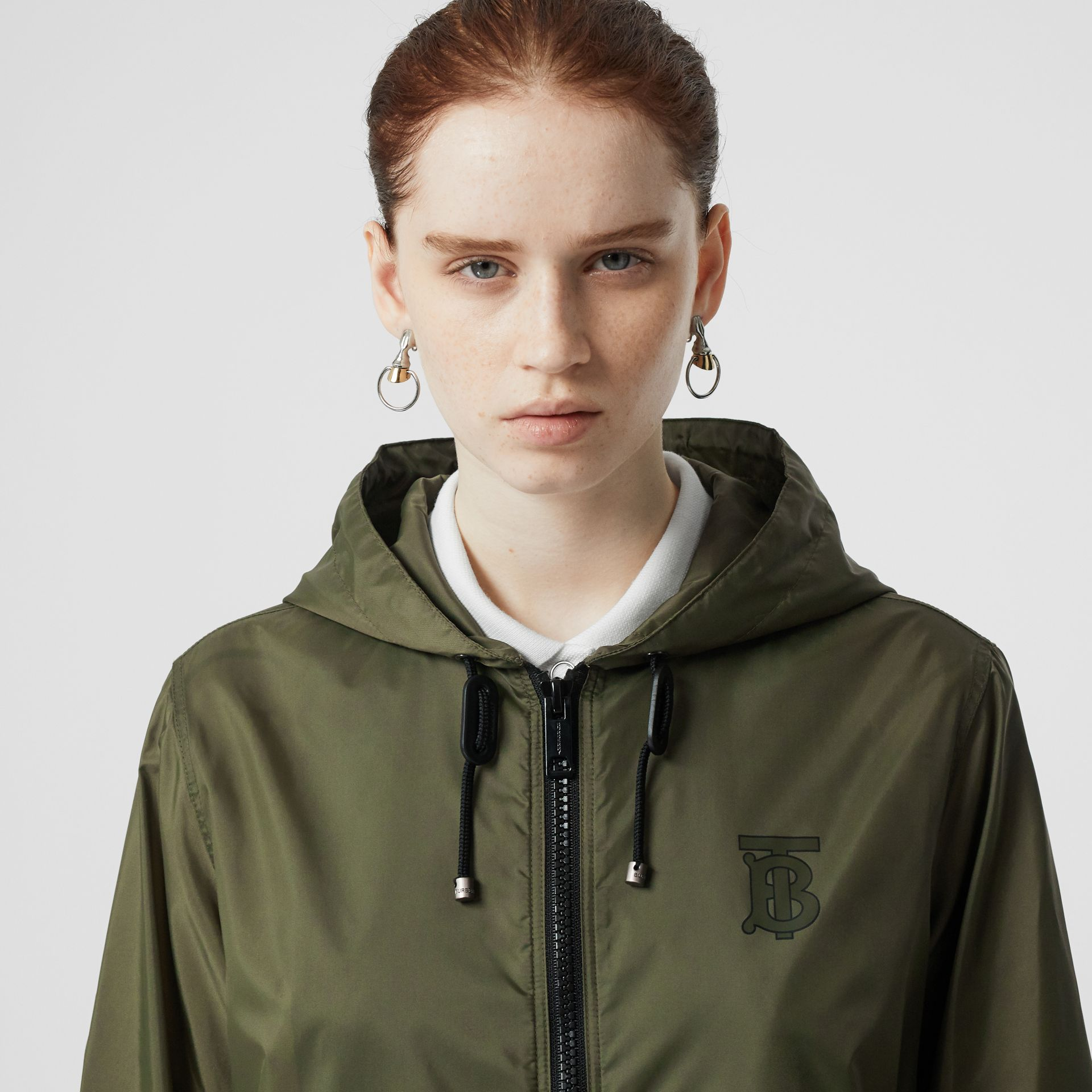 Monogram Motif Lightweight Hooded Jacket in Light Olive - Women | Burberry United States - gallery image 1