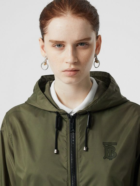 Monogram Motif Lightweight Hooded Jacket in Light Olive - Women | Burberry United States - cell image 1