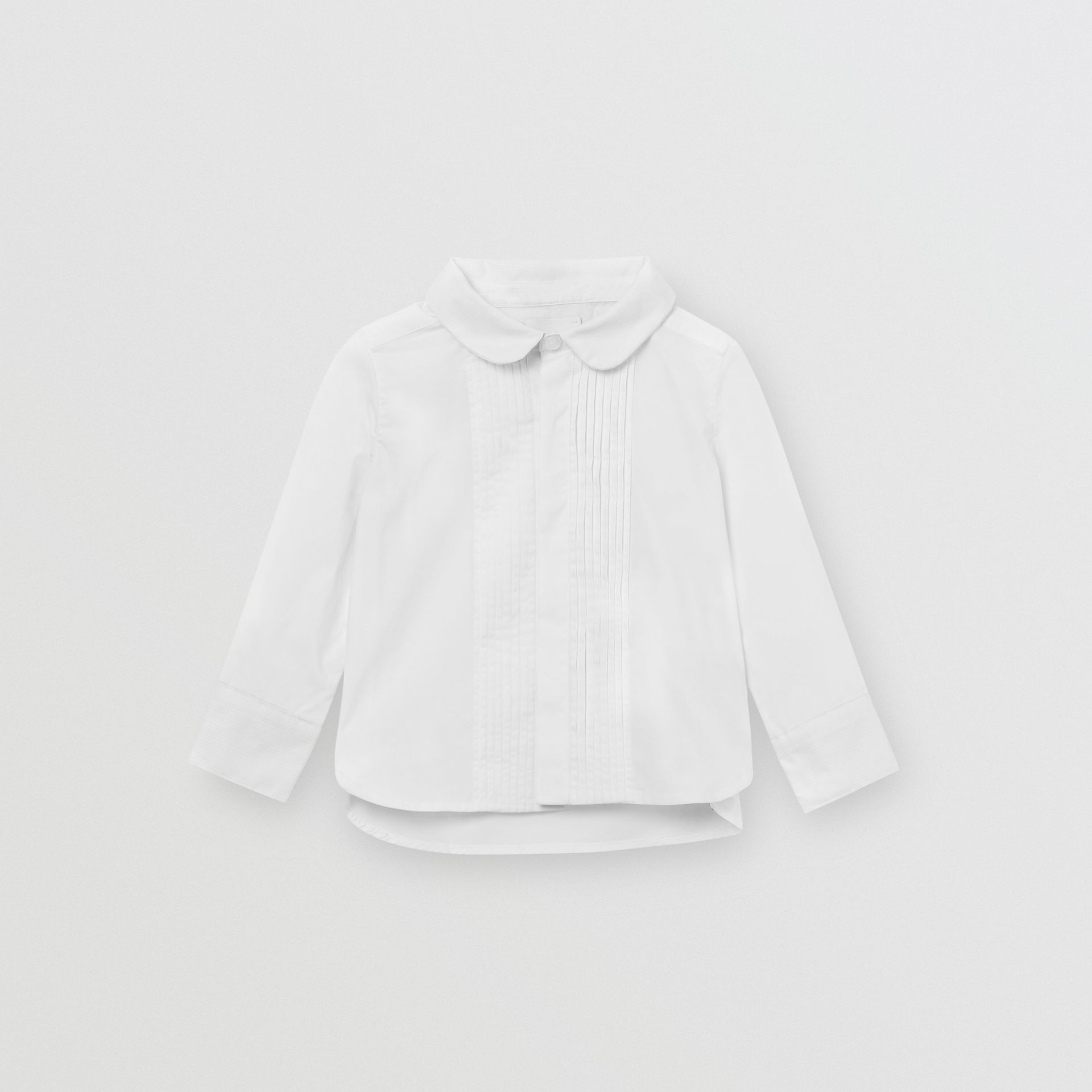 Pintuck Panel Stretch Cotton Poplin Shirt in White - Children | Burberry - gallery image 0