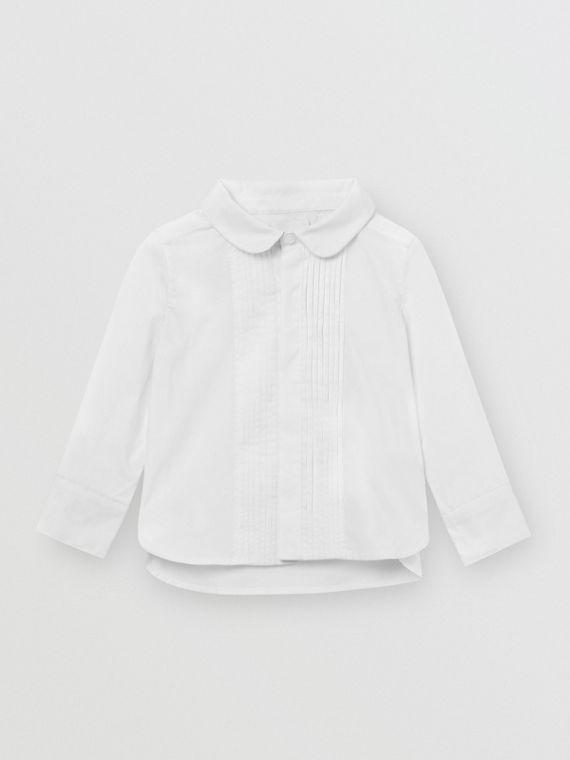 Pintuck Panel Stretch Cotton Poplin Shirt in White
