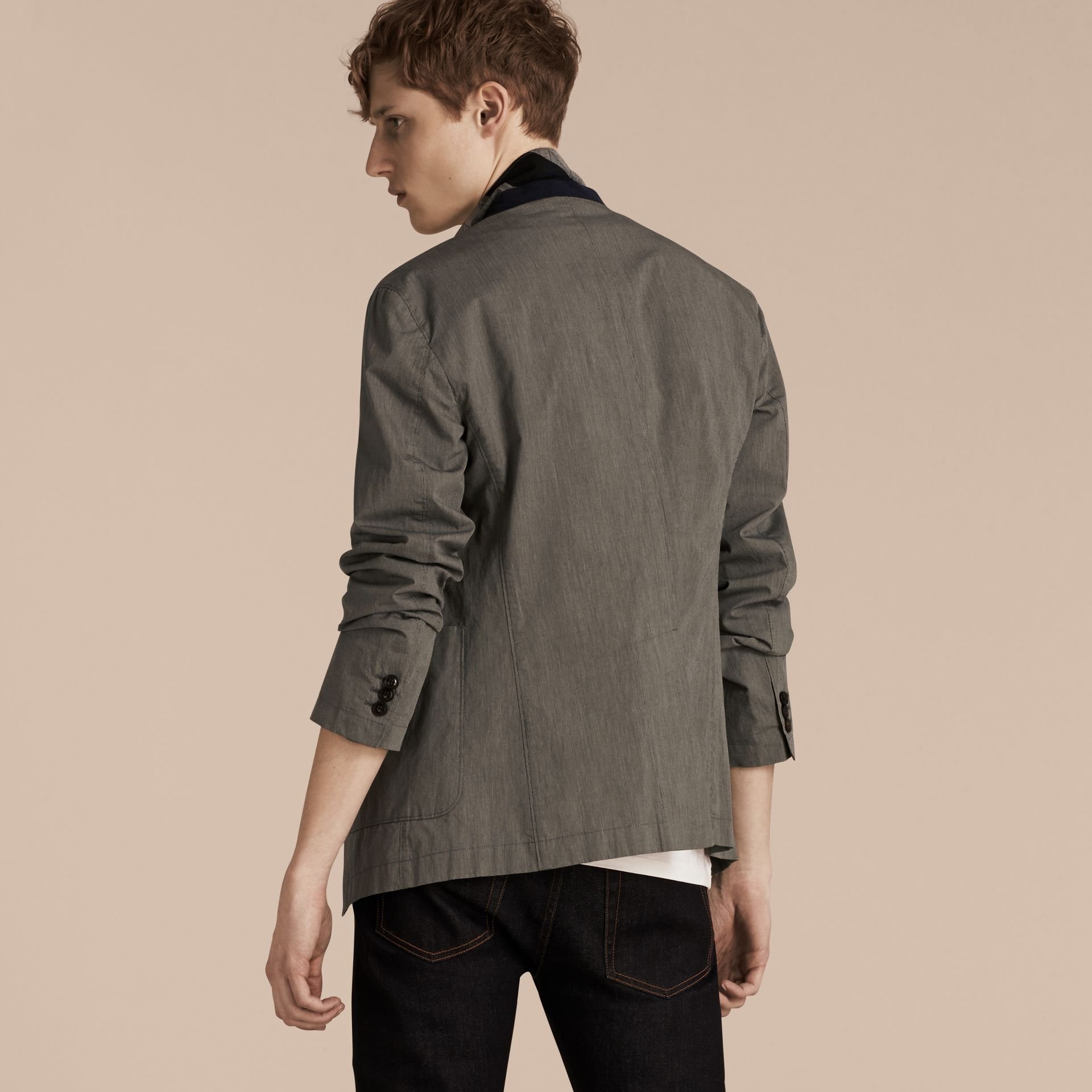 Dark grey Cotton Tailored Jacket - gallery image 3