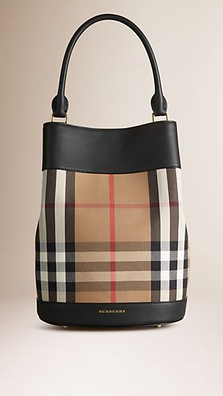 Borsa Burberry Bucket con motivo House check e pelle