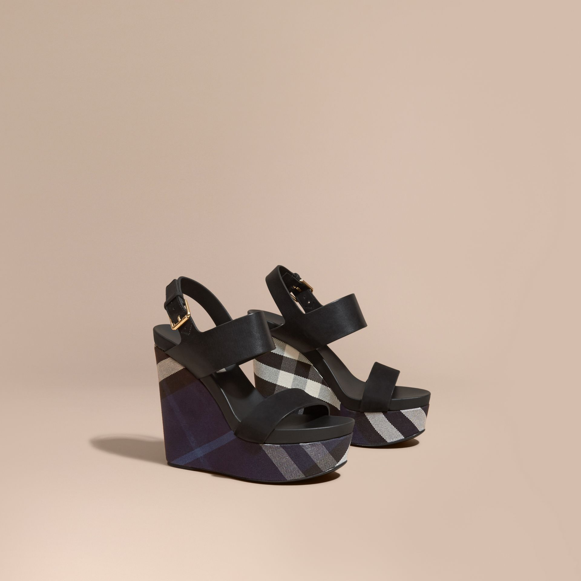 House Check Leather and Calf Suede Platform Wedges Indigo Blue - gallery image 1