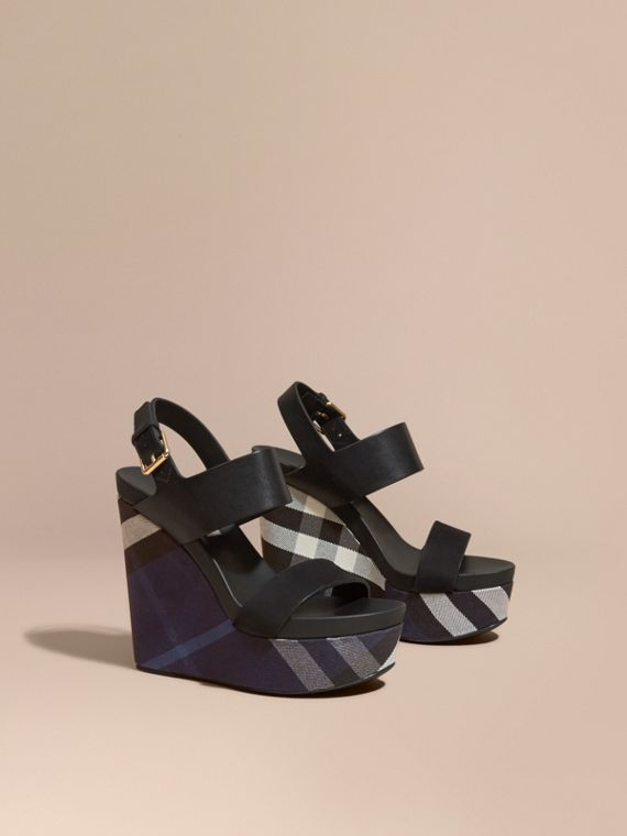 House Check Leather and Calf Suede Platform Wedges Indigo Blue