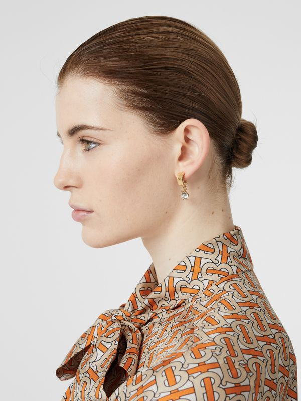 Crystal Charm Gold-plated Nut Earrings in Light - Women | Burberry Singapore - cell image 2