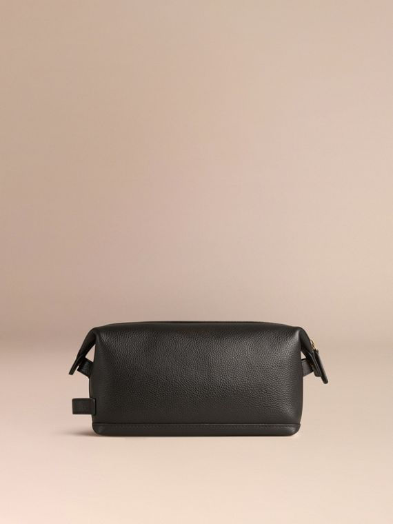 Black Grainy Leather Washbag - cell image 3