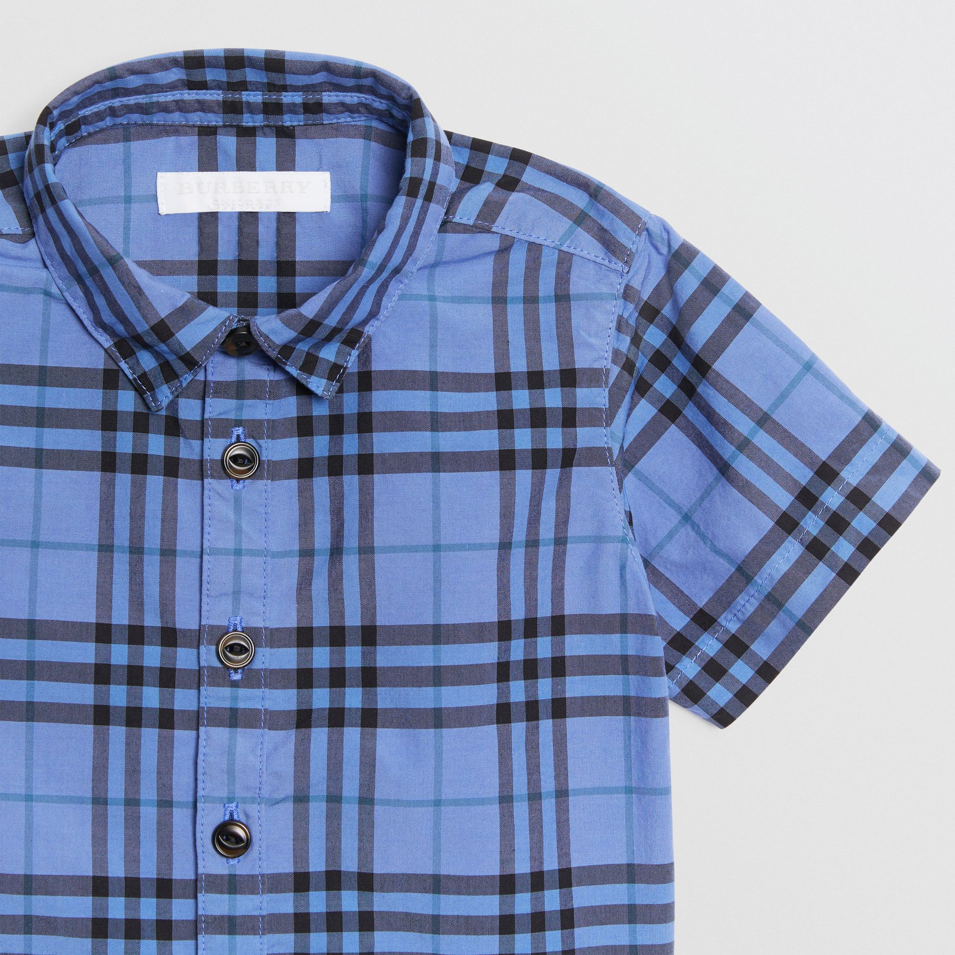 Short-sleeve Check Cotton Shirt in Dusty Blue - Children | Burberry United States - gallery image 4