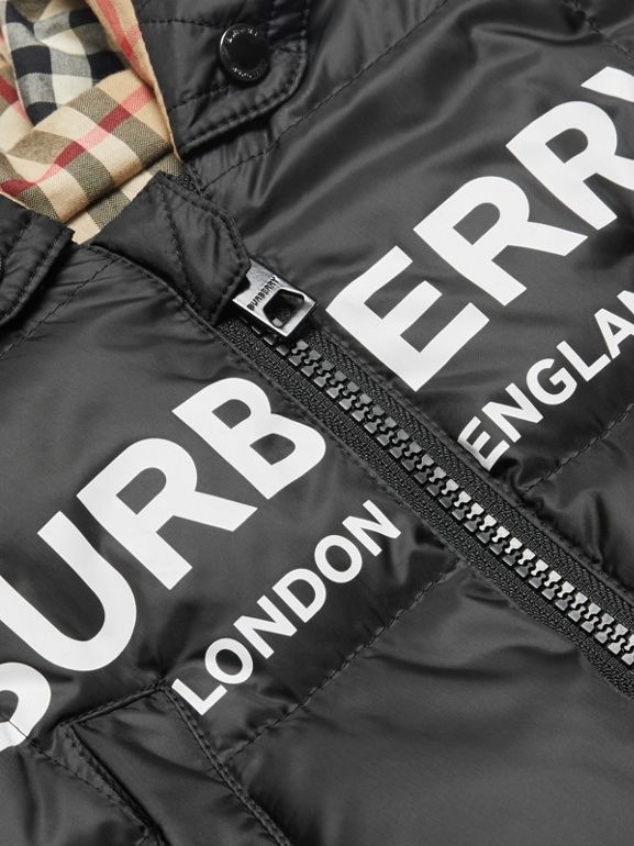 Logo Print Down-filled Puffer Suit in Black - Children | Burberry - cell image 1