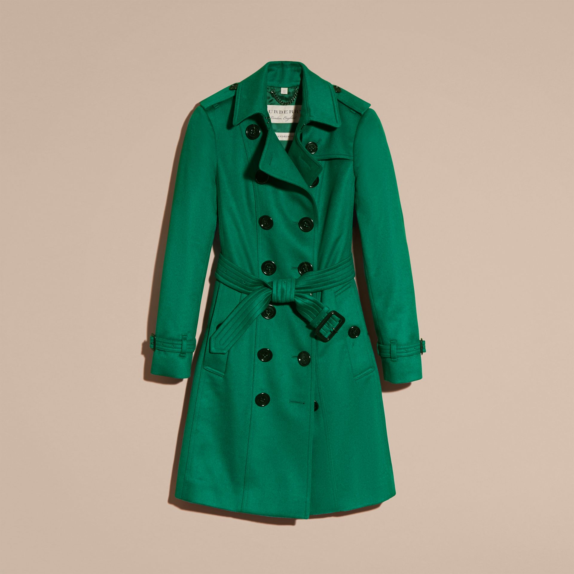 Sandringham Fit Cashmere Trench Coat Kelly Green - gallery image 4