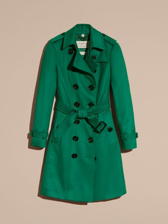 Sandringham Fit Cashmere Trench Coat Kelly Green - cell image 3
