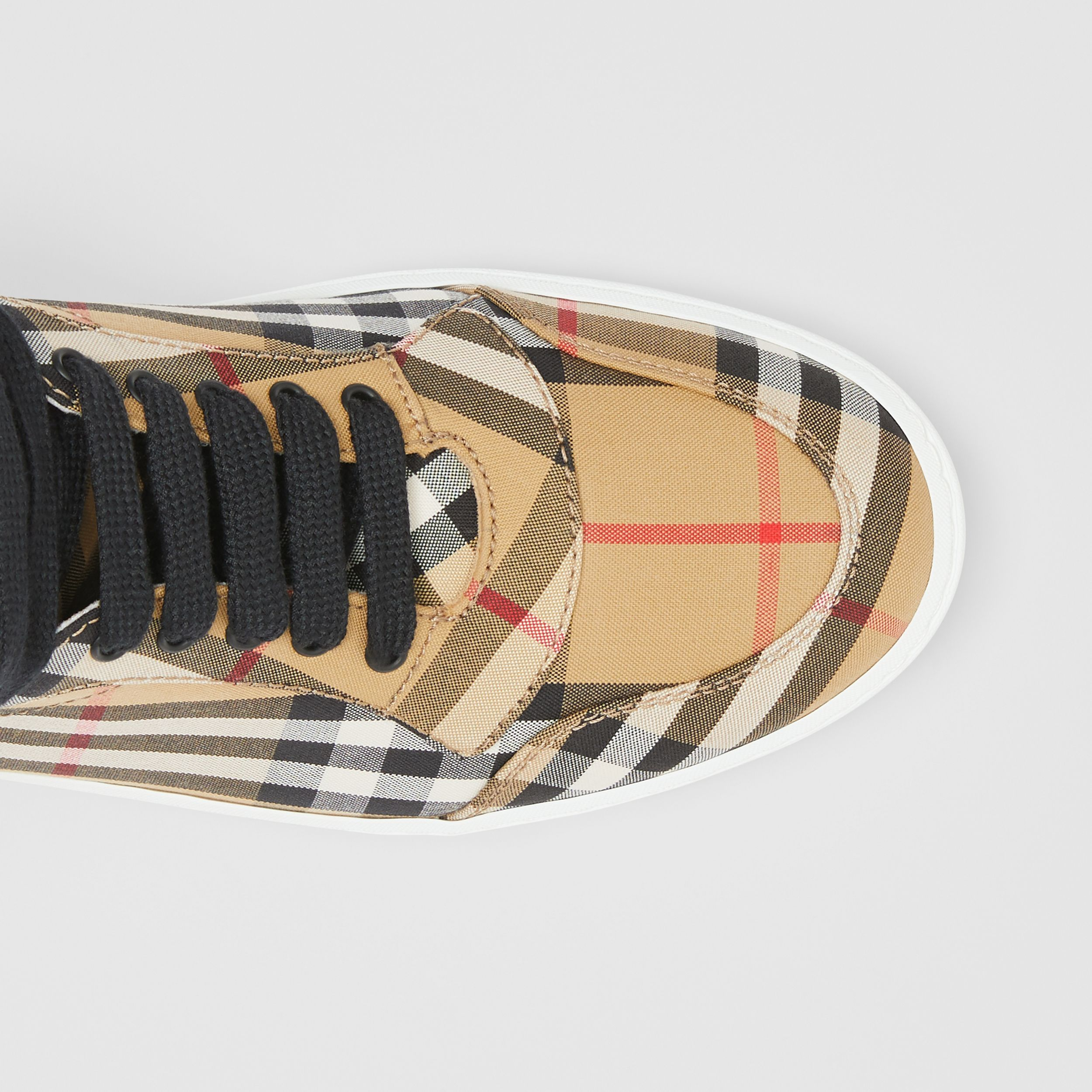 Vintage Check Cotton High-top Sneakers in Antique Yellow - Women | Burberry United Kingdom - 2