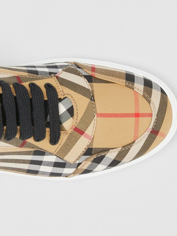 Vintage Check Cotton High-top Sneakers in Antique Yellow - Women | Burberry United Kingdom - cell image 1