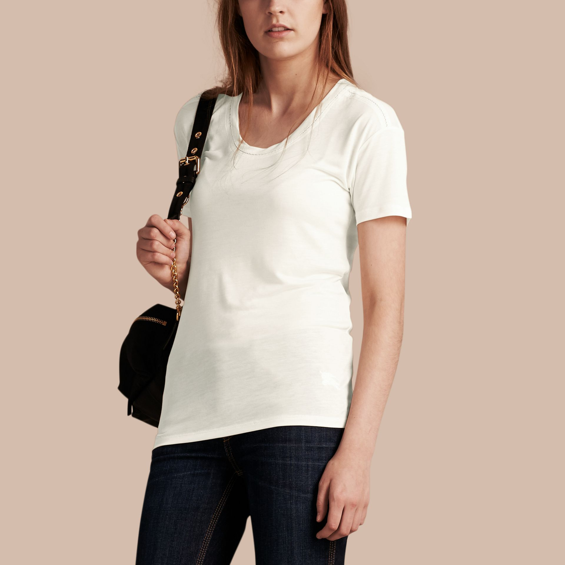 Natural white Scoop Neck Lyocell T-shirt Natural White - gallery image 1