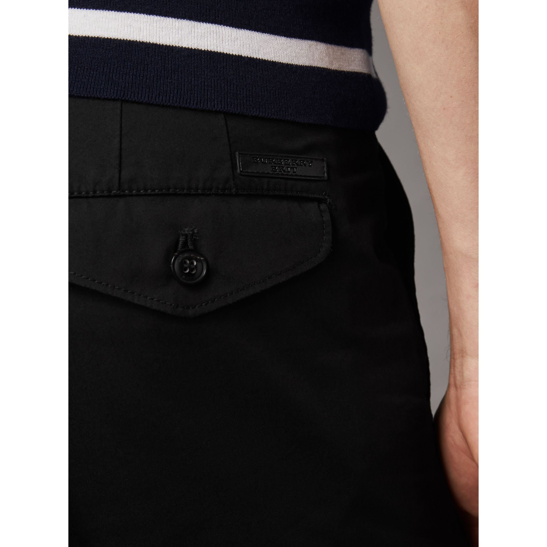 Slim Fit Cotton Chinos in Black - Men | Burberry - gallery image 2