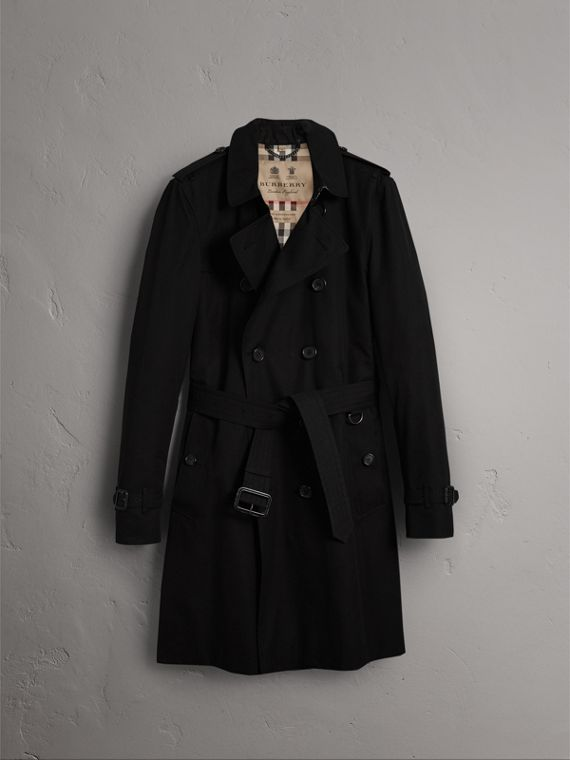 The Kensington – Long Trench Coat in Black - Men | Burberry Singapore - cell image 3