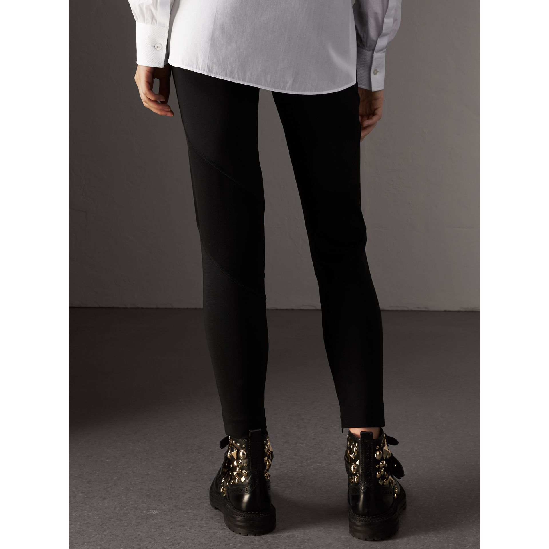 Panelled Stretch Jersey Leggings in Black - Women | Burberry - gallery image 3