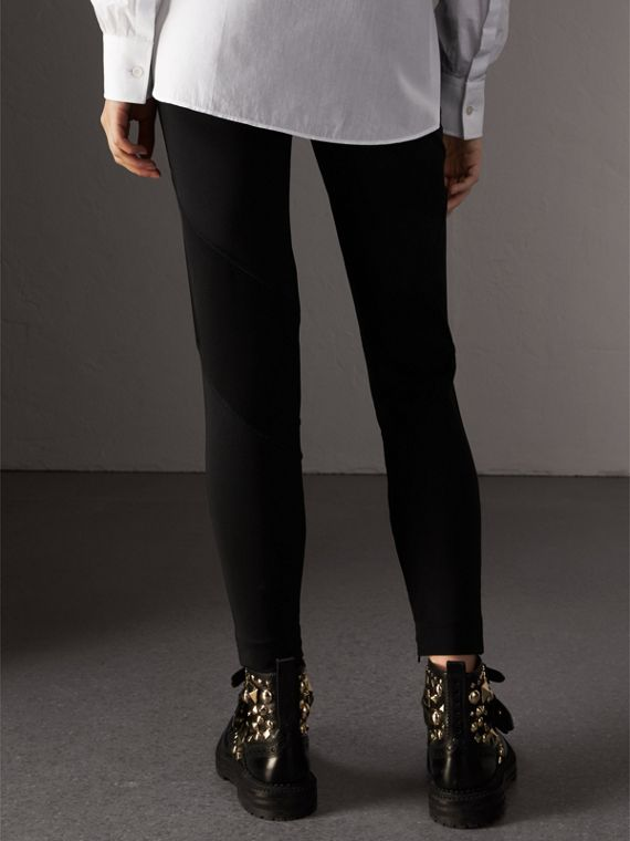 Panelled Stretch Jersey Leggings in Black - Women | Burberry - cell image 2
