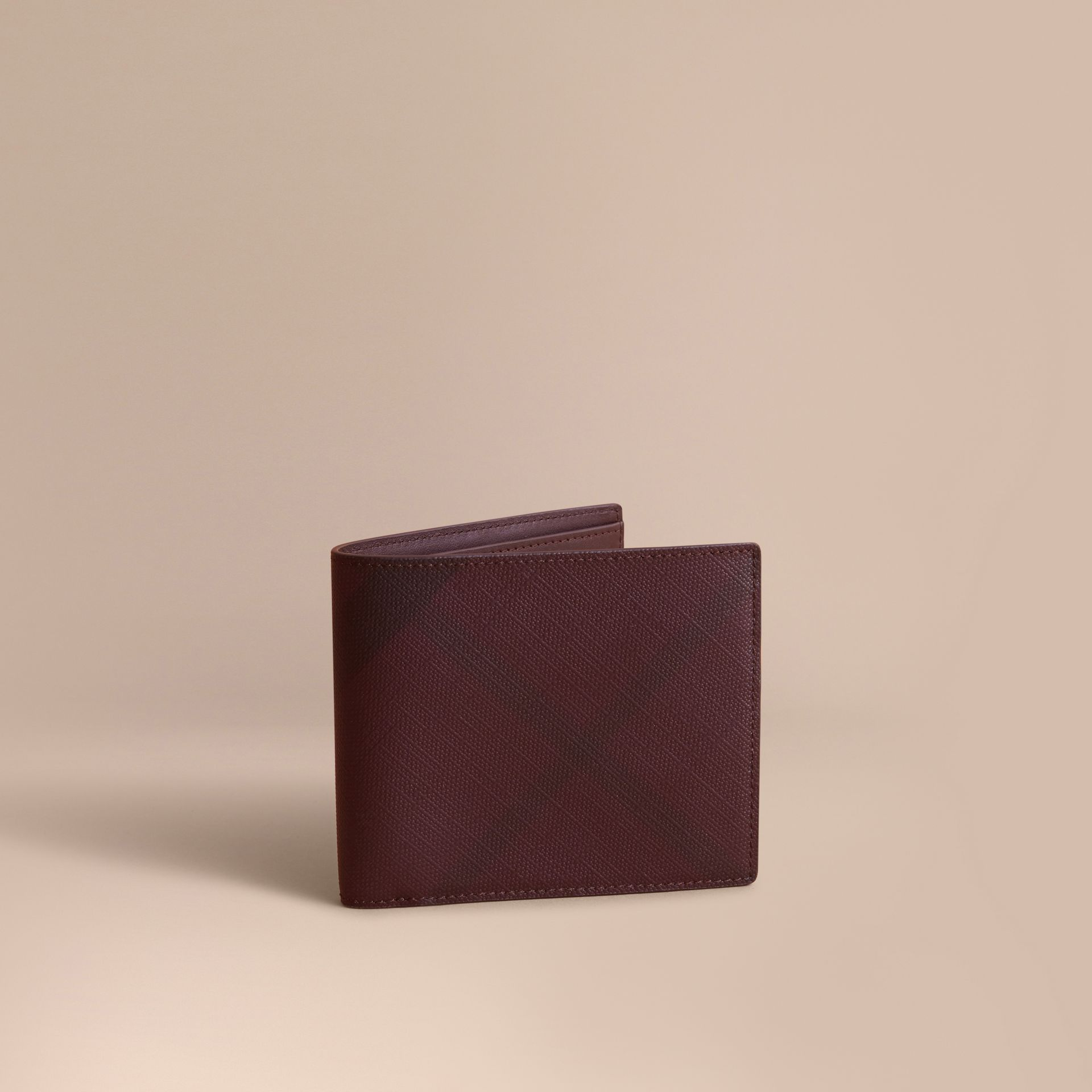 London Check Folding Wallet in Deep Claret - Men | Burberry - gallery image 1