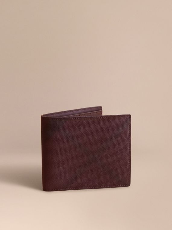 London Check Folding Wallet in Deep Claret