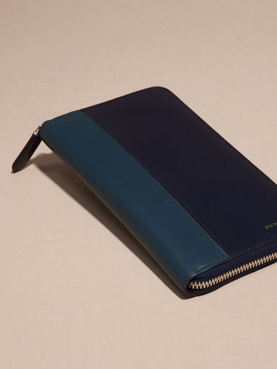 Dark navy/mineral blue Colour Block London Leather Ziparound Wallet Dark Navy/mineral Blue - cell image 2