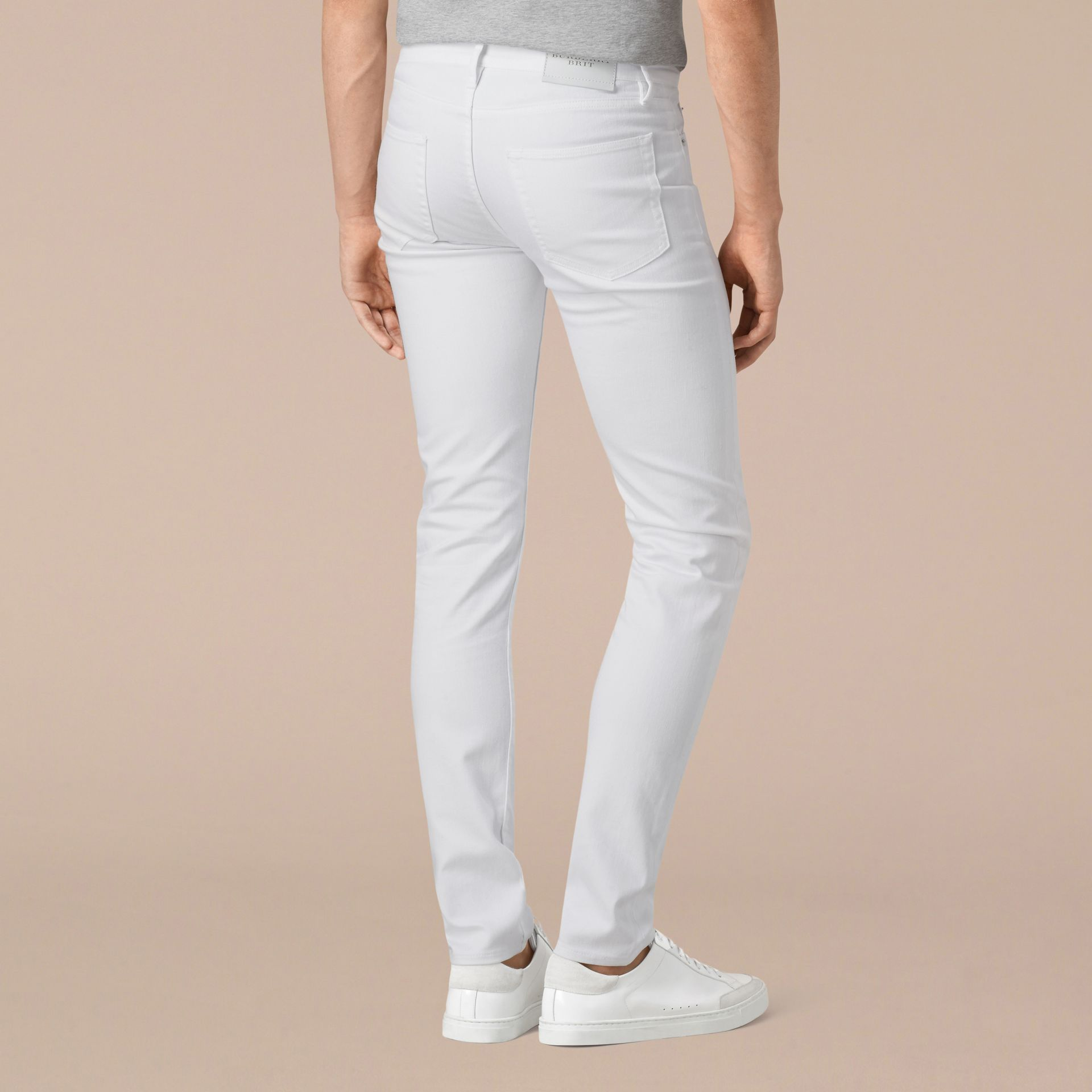 White Slim Fit Stretch Japanese Denim Jeans - gallery image 3