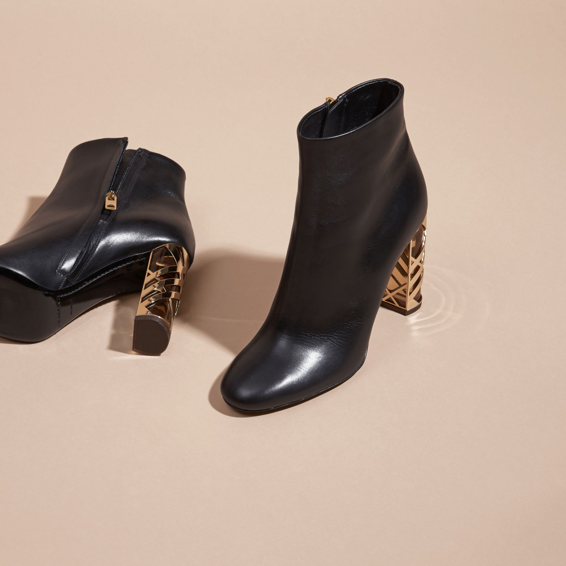 Black Check Heel Leather Ankle Boots - gallery image 3