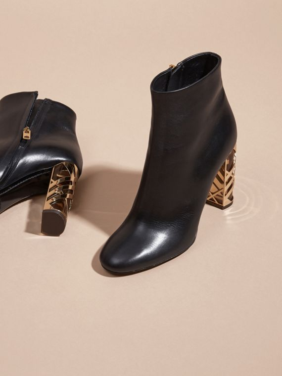 Black Check Heel Leather Ankle Boots - cell image 2
