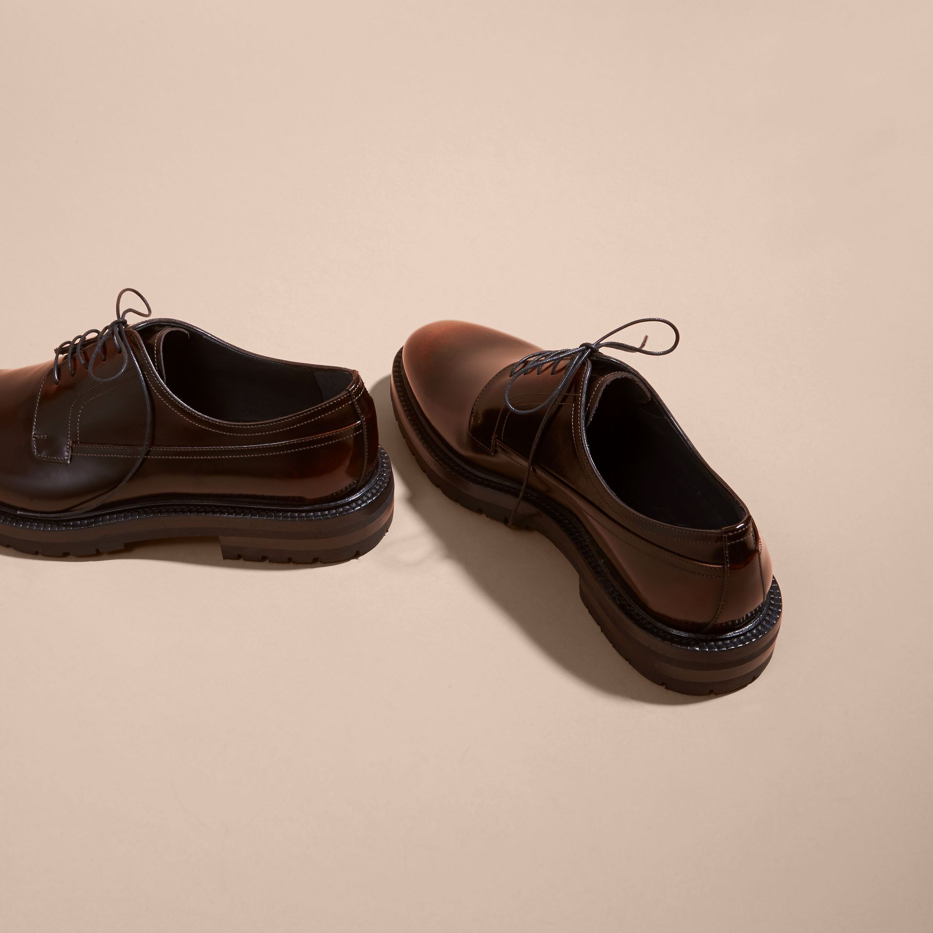 Burnished Leather Derby Shoes in Bitter Chocolate - gallery image 4