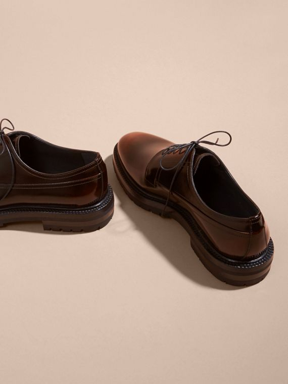 Burnished Leather Derby Shoes in Bitter Chocolate - cell image 3