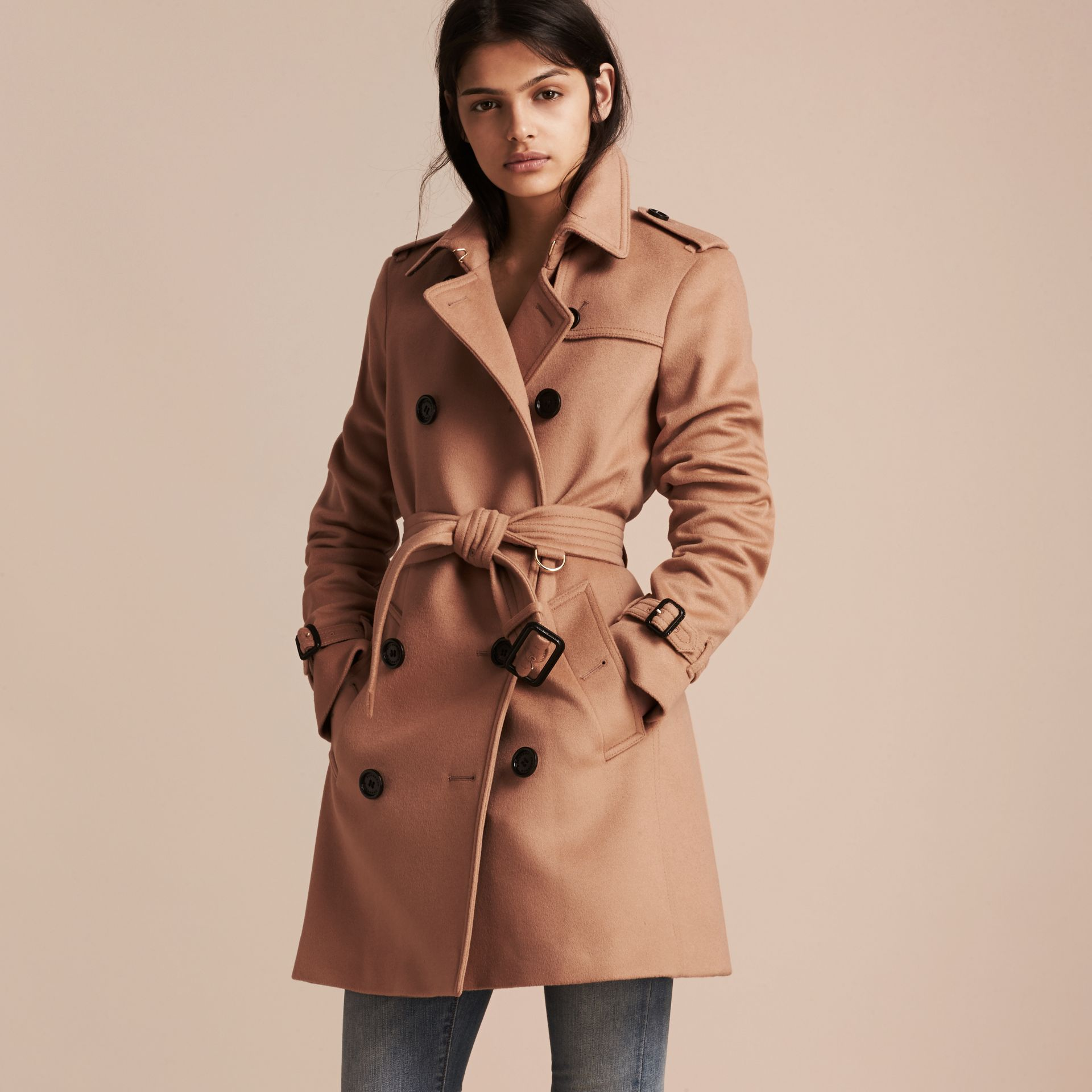 Wool Cashmere Trench Coat in Camel - Women | Burberry - gallery image 1