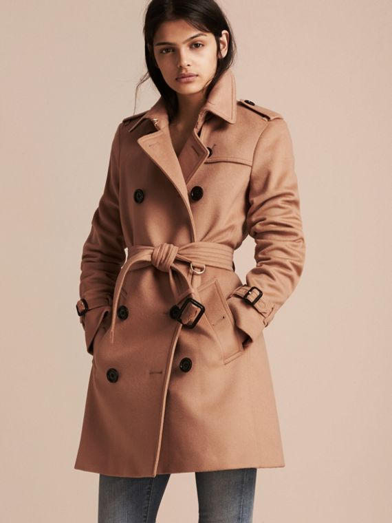 Trench coat in lana e cashmere Cammello