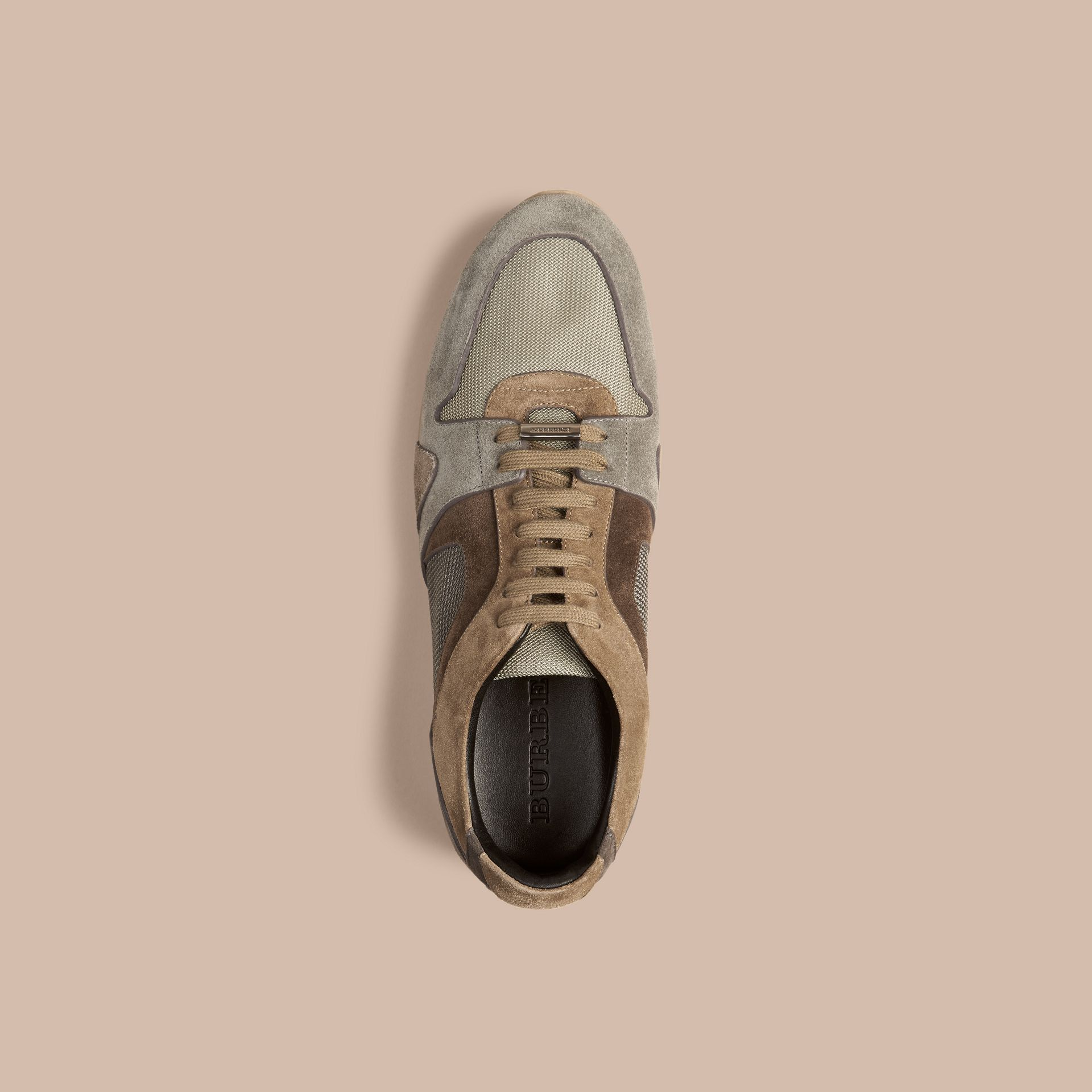 Greystone The Field Sneaker in Colour Block Suede and Mesh Greystone - gallery image 3