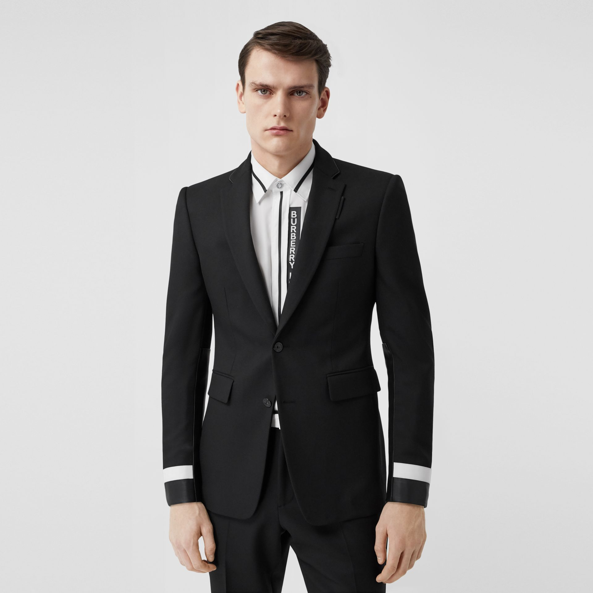 Classic Fit Lambskin Detail Wool Tailored Jacket in Black | Burberry United Kingdom - gallery image 0
