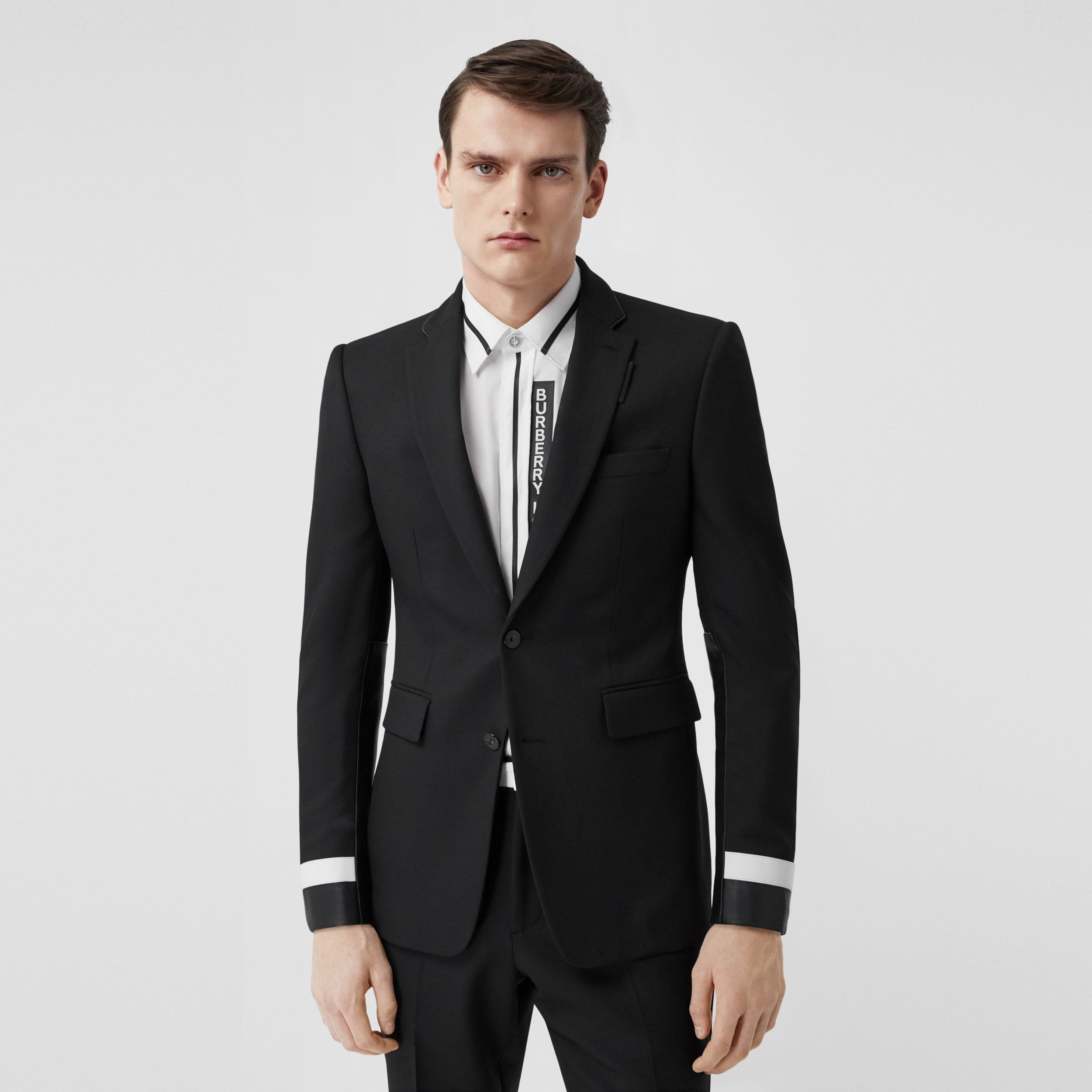 Classic Fit Lambskin Detail Wool Tailored Jacket in Black - Men | Burberry United States - 1
