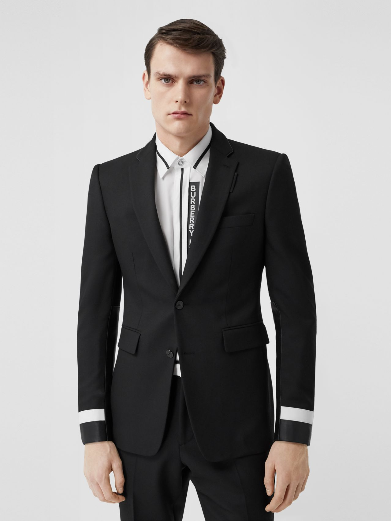 Classic Fit Lambskin Detail Wool Tailored Jacket in Black