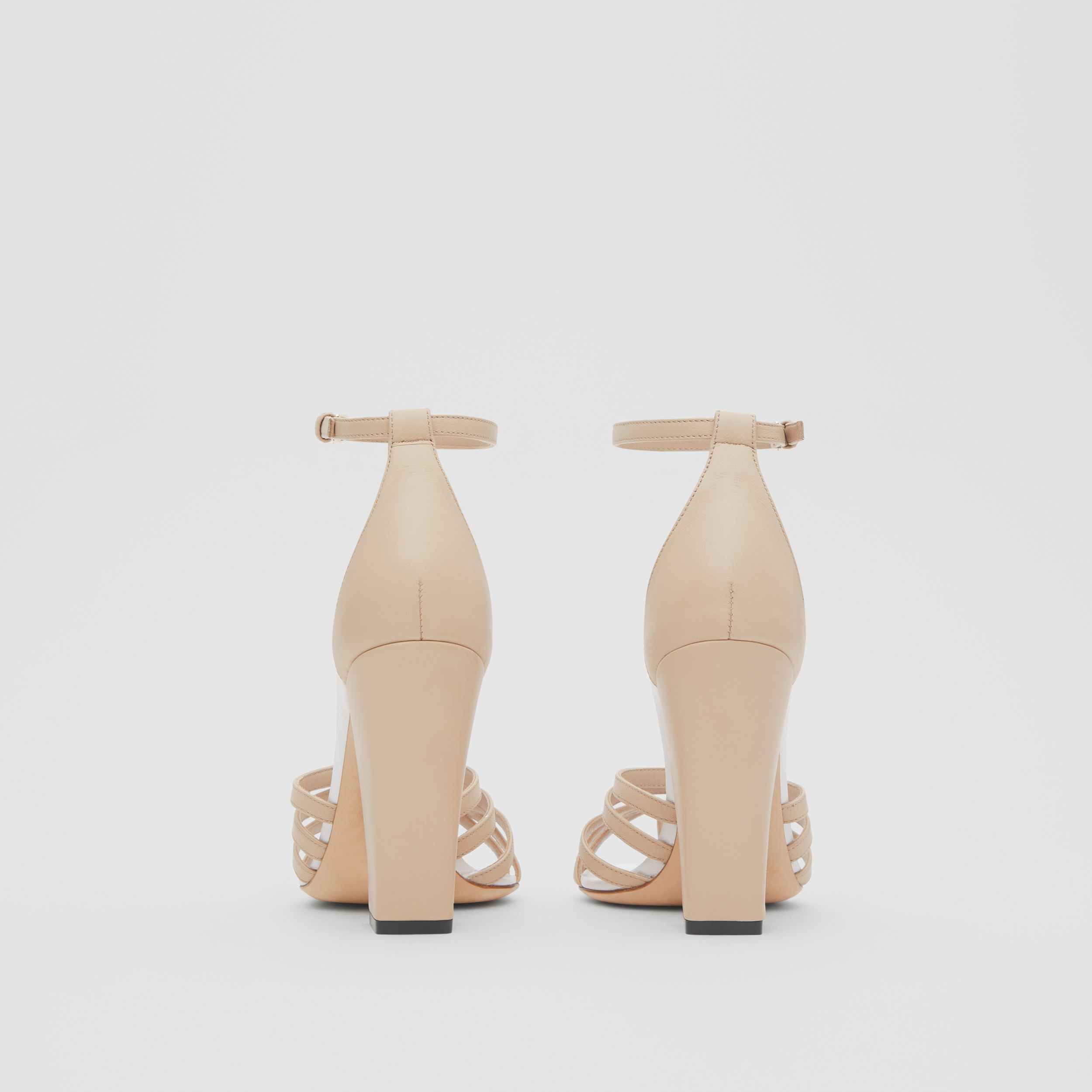 Split-toe Detail Leather Sandals in Soft Fawn - Women | Burberry - 4