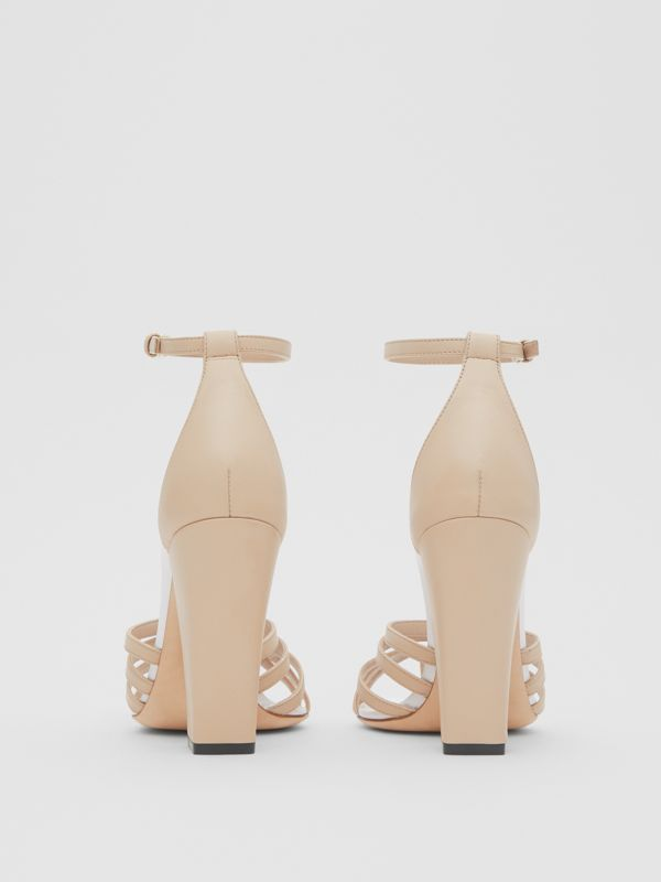 Split-toe Detail Leather Sandals in Soft Fawn - Women | Burberry - cell image 3