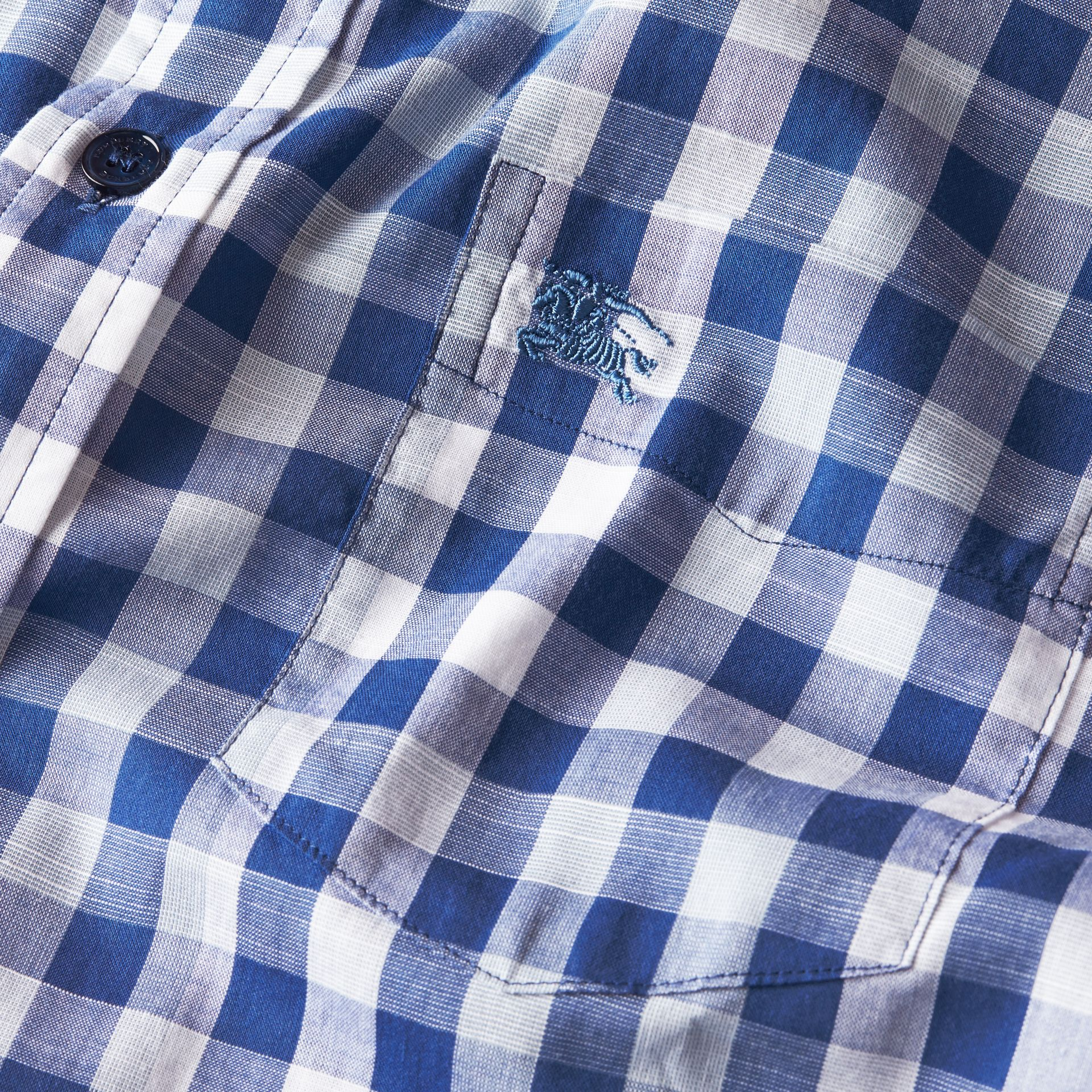 Bright steel blue Short-sleeved Gingham Cotton Shirt Bright Steel Blue - gallery image 2