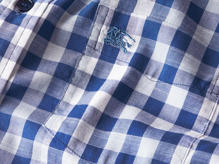 Bright steel blue Short-sleeved Gingham Cotton Shirt Bright Steel Blue - cell image 1
