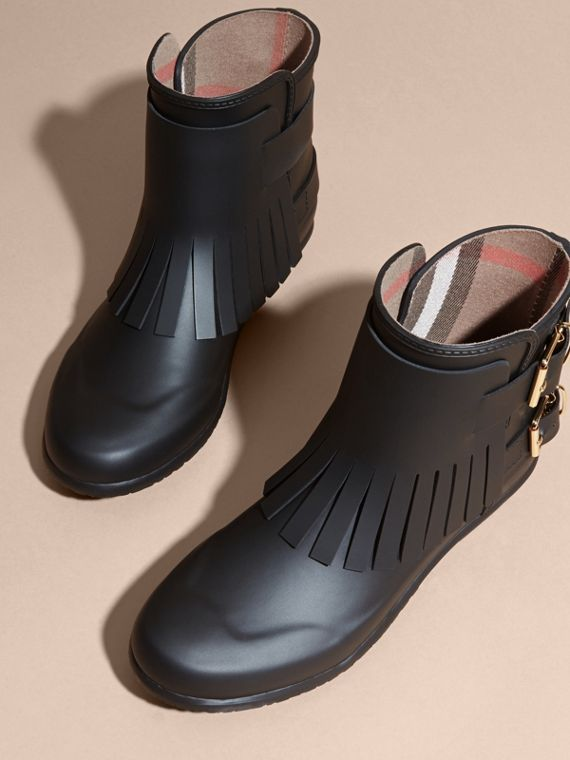 Black Fringed Rain Boots - cell image 2