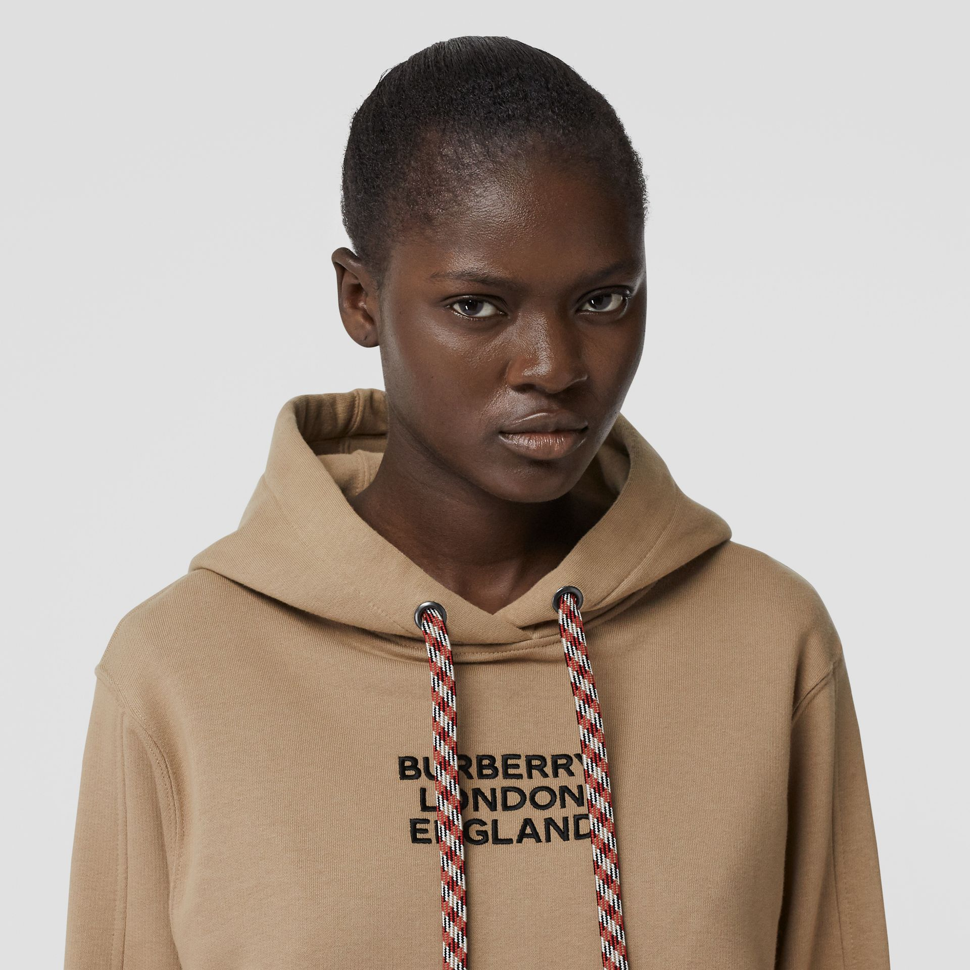 Embroidered Logo Cotton Oversized Hoodie in Archive Beige - Women | Burberry - gallery image 1