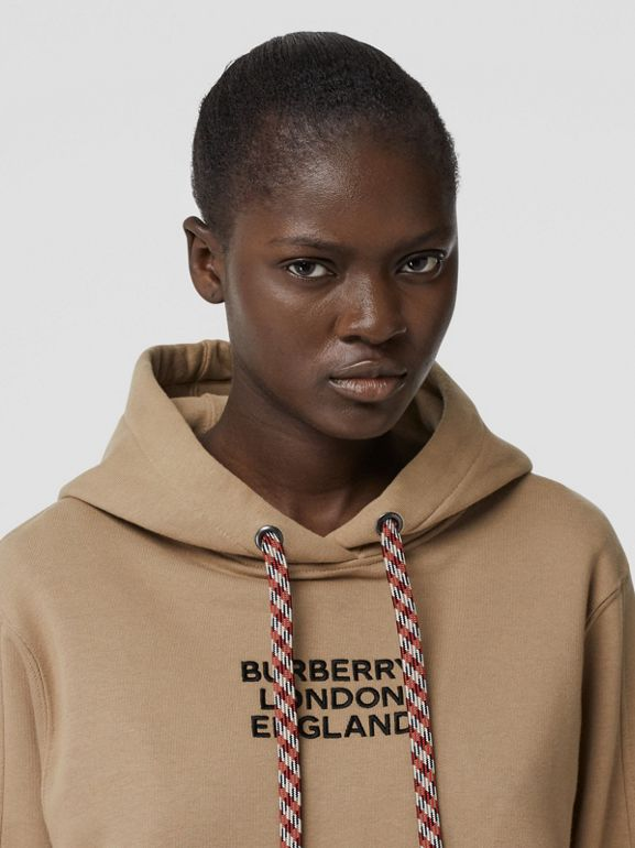 Embroidered Logo Cotton Oversized Hoodie in Archive Beige - Women | Burberry - cell image 1