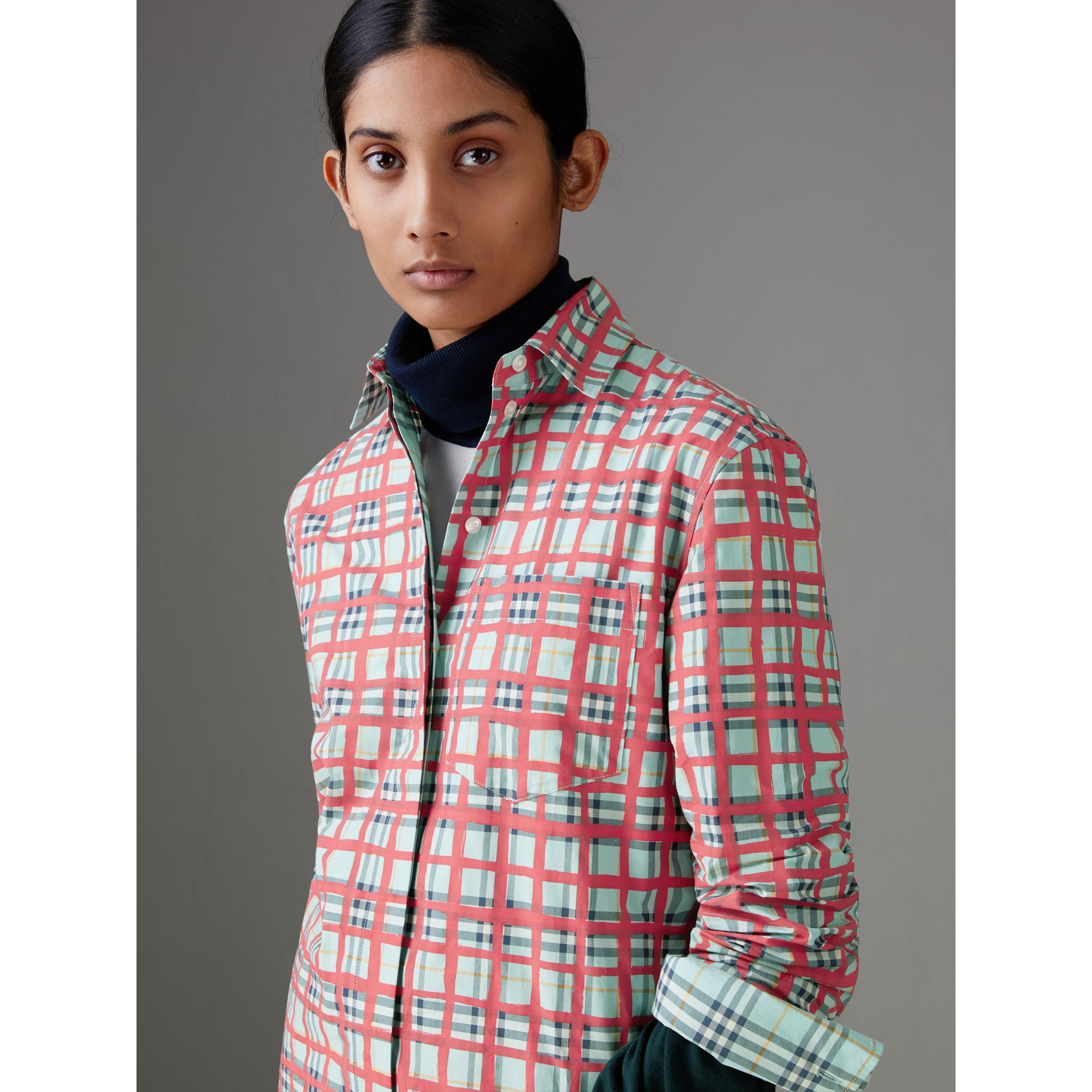 Painted Check Cotton Shirt in Bright Aqua - Women | Burberry - gallery image 1