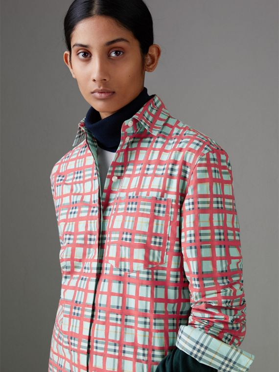 Painted Check Cotton Shirt in Bright Aqua